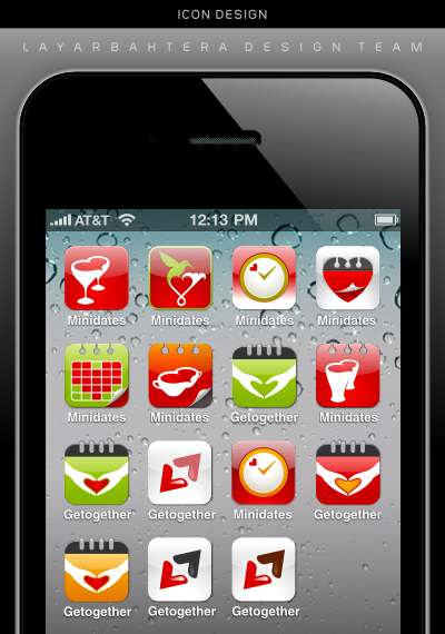 iPhone icon design for speed scheduled mobile dating service shown on iPhone 4 interface design